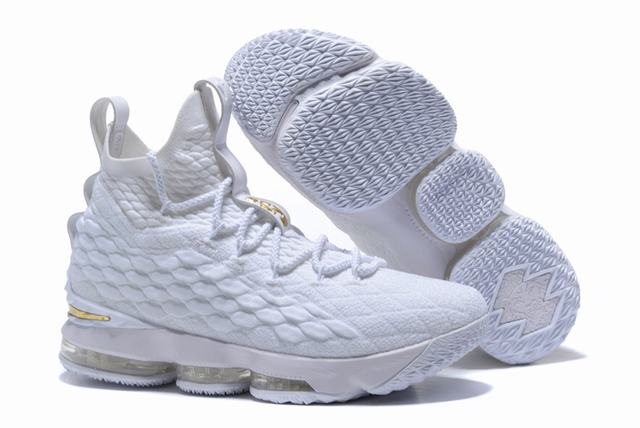 Nike Lebron James 15 Air Cushion Shoes White Gold